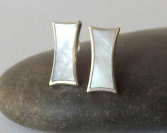 Sterling Silver Mother of Pearl Earrings Vintage  Pierced  Earrings Modern Jewelry 925 Mother of Pearl Geometric Earrings 925 Silver Stud