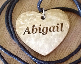 Coconut Shell Heart Necklace, Personalize, Engrave-A Great Affordable Gift, Present or Favor for a Special Person-Birthday