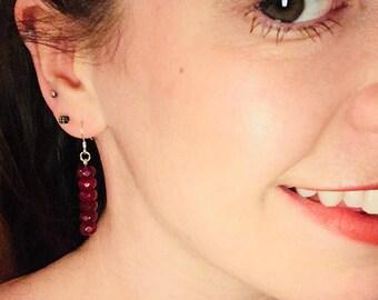 Ruby Earrings, Sterling Silver Earrings, Birthstone Jewellery, Dangly Earrings, July Birthstone, Jewellery, Ruby Red