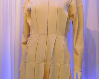 Jean Paul GAULTIER pour Equator Cream Layered Knit Sweater Dress Jacket Coat