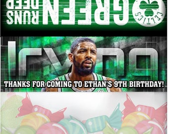 12 Boston Celtics Birthday Treat Bag Toppers Personalized Party Favors Candy