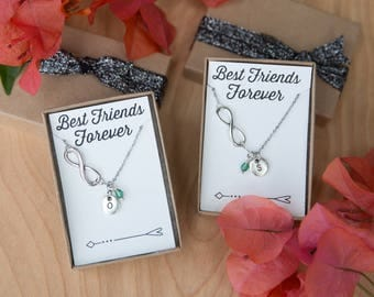Best Friend Necklaces, Personalized Necklace, Friends Forever, Initial Necklace, Silver Infinity Necklace, Set of 2, Friendship Necklaces