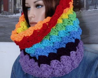 Rainbow Scarf Colorful Pride Cowl Winter Infinity Scarf Tunnel  Tube Scarf Hoody Style Statement Scarf Pride Accessory Scarf READY TO SHIP