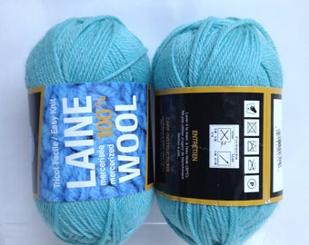 Laine Mercerized 100% Wool Turquoise Blue Wool Infinity Pool Fiber Art Bundle of Crafting Wool Destash Knitting Supply Crochet Wool Yarn