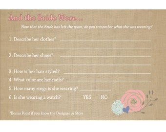 And the Bride Wore... Shower game (10 cards per order)