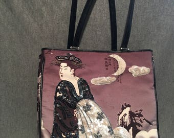 Isabella Fiore Geisha Japanese Beaded Tote Bag Handbag Purse Pre-Owned