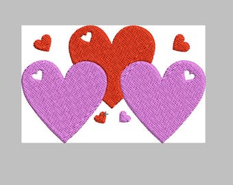 Cute 3 Heart Embroidery Design 4 SIZES