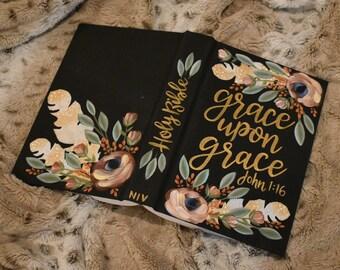 Hand Painted Bibles | Grace  | Baptism Gift | Graduation Gift | Wedding Gift | Custom Scripture | Custom Color | Home Decor Keepsake