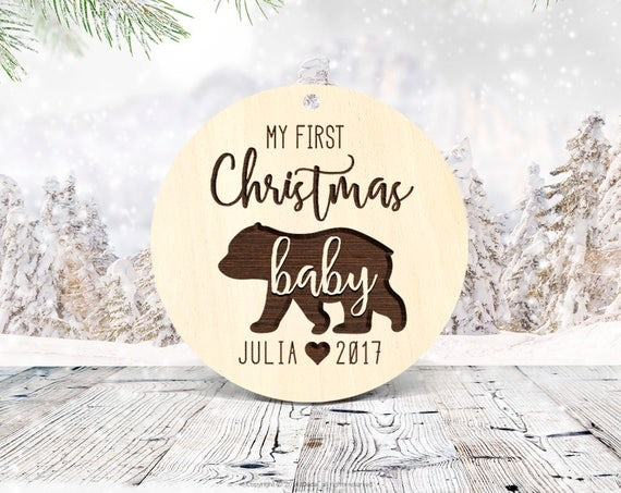 Baby's First Christmas Ornament Baby Christmas Tree Ornament First Christmas Wood Baby Ornament Christmas Ornaments for Baby Custom 9
