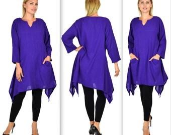 Comfyplus , Cotton Gauze Tunic, Gauze Top, Asymmetrical Tunic,  Cotton Tunic, Plus size tunic,Dual Side Pocket Tunic.Large to 4XL