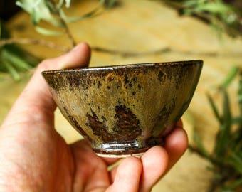 Stoneware bowl in regional tenmoku and basalt glazes - Small tea bowl - Dipping dish