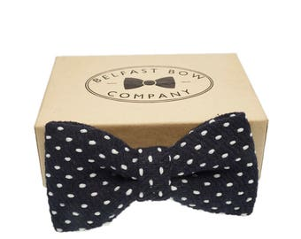 Handmade Wool Blend Bow Tie in Spotted Navy - Adults & Boy's sizes Available