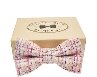 Handmade Tweed Bow Tie in Pastel Pink, Lilac, Cream, Black