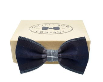 Handmade Tartan Bow Tie in Navy Black and Grey - Adult & Junior sizes available