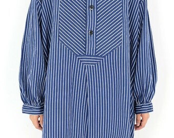 Resize German vintage Fisherman's smock shirt for women/Germany/blue white stripe/work shirt/tunic/gather