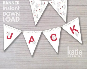 banner - birthday banner - kids party banner - farm banner - printable banner - chickens - personalised banner