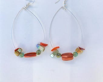 Orange and Yellow Hoop Earrings