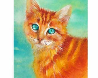 Aqua Cat painting - print of watercolor painting. Art Print. Nature or Animal Illustration. Turquoise and Orange.