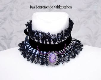 Lace collar, choker, with gears and dragonfly, Steampunk, Lolita