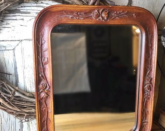 Vintage Wood Carved Mirror, Vintage Mirror, Carved Mirror, Wood Carved Mirror