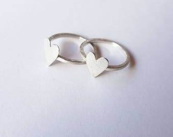 heart ring silver heart ring valetines day ring love present for her