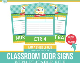 2018 LDS Primary Classroom Door Lists - I am a child of god - Sun Theme - MB