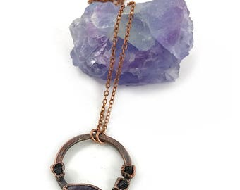 Charoite and Black Tourmaline Necklace, Raw Stone, Raw Crystal, Electroformed Pendant, Purple, Black Gemstone, Healing, Copper Necklace