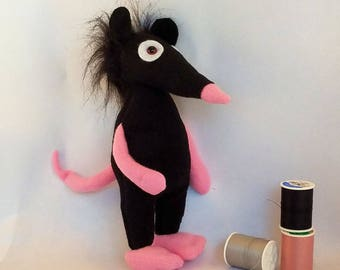 Mouse toy, mouse stuffed animal, mouse plush, stuffed mouse, black mouse, rat toy, rat plush, small stuffed mouse, plush mouse
