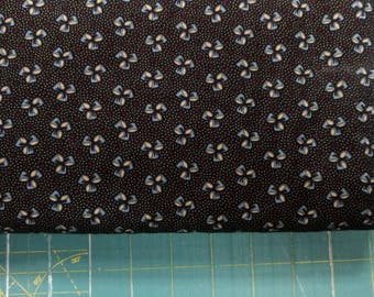 Mary's Chocolate fabric. Black flowers bows bow tie dots quilters cotton quilting Blank Textiles 619096120198