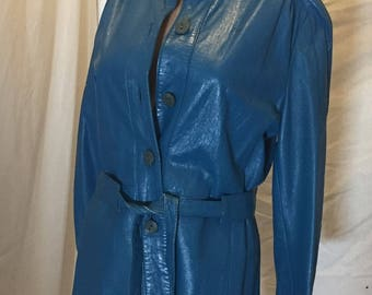 Vintage The Tannery Montgomery Ward Aqua Blue 100% Genuine Leather Belted Jacket
