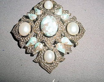 Vintage Signed Sarah Coventry Large Brooch 2 inches x 2 inches 1960's