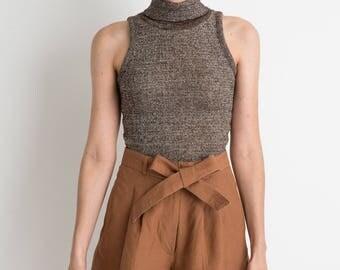 90s Cocoa Linen Tie Shorts M