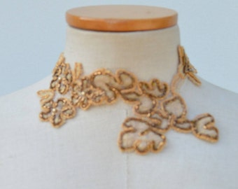 Lace necklace, wedding lace, collar embroidered lace Brown cocker, cocker Brown beaded lace Choker, necklace