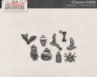 Halloween Charms, Antique Silver Trinkets, Digital Elements, Commercial Use OK, Instant Download, Pumpkin, Witch Hat, Bone, Skull, Spider