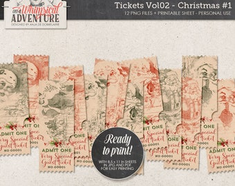 Christmas Printable Coupons, Ticket Invitation, Jolly Santa, Instant Download, Digital Collage Sheet, Special Guest, Admit One, Santa Claus
