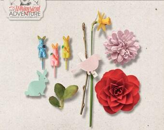 Commercial Use OK, Easter Mix, Digital Scrapbooking Embellishments, Digital Download, Clothespin, Vintage Cupcake Picks, Bunny, Flower, Leaf