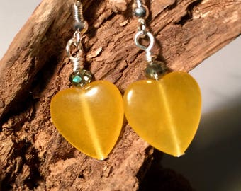 Honey Agate, Heart shaped stone. Heart Dangling Earrings,