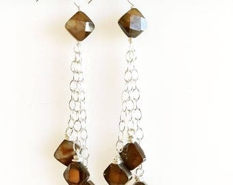 Square Faceted Abalone Drop Earrings