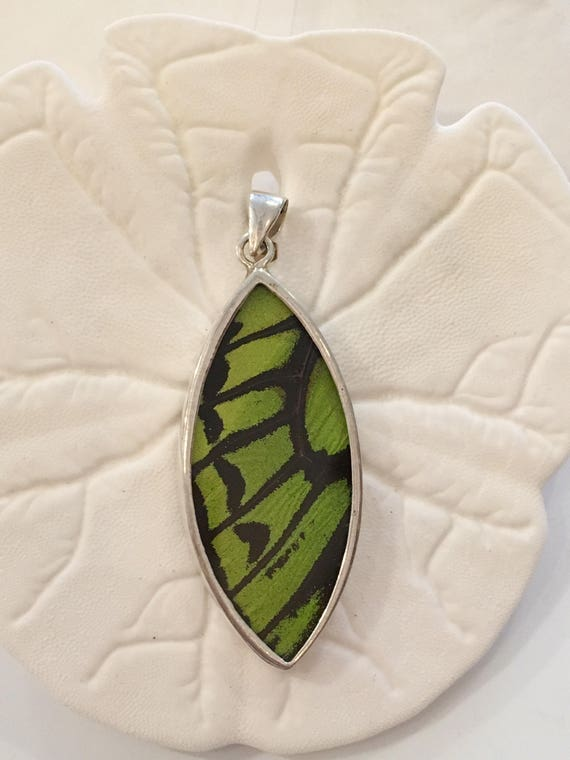 LIME WING Butterfly Wing Pendant// Butterfly Wing Jewelry// AUTHENTIC Butterfly Wings// Eco Friendly Jewelry// Statement Jewelry