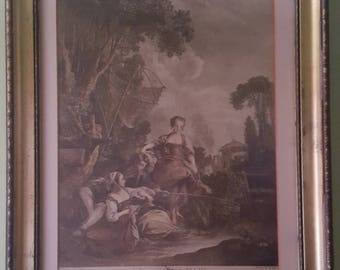 "Jacques Firmin Beauvarlet Renaissance Art (French 1731-1797) French Engraving ""Le Peche"" (Fishing) Exceptional Condition Framed & Matted"