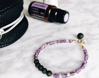 Amethyst & Lava Bead Minimalist Essential Oil Diffuser Bracelet Sterling Silver or 14k Gold Filled Accents