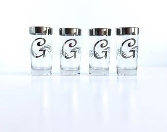 Vintage Monogram 'G' Silver Rim Tumblers, Set of 8 Mid Century Dorothy Thorpe Style Letter 'G' Highball Glasses
