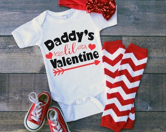 Daddy's Lil Valentine  Bodysuit or T-Shirt for Baby Toddler Kid Newborn Babies Shower Coming Home Gift Idea Top Creeper Present Cute Day