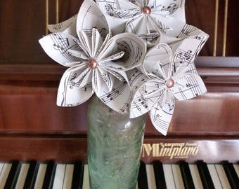 Origami flowers, music paper bunch of kusudamas, first anniversary, 1st anniversary gift idea