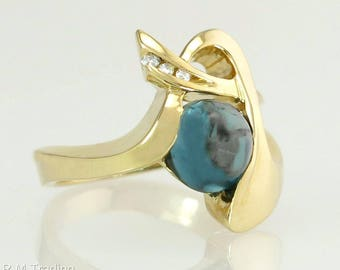 Designer Strellman 14K Gold 1.86ct Genuine Diamond & Blue Topaz Ring