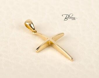 Minimalist Gold Cross Pendant for Women Cross Necklace 14K Gold Cross for Her Delicate Gold Cross Women Cross Pendant