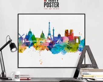 Paris art print, Paris poster, Paris skyline watercolour print, Paris wall art, travel poster, home decor, gift, iPrintPoster