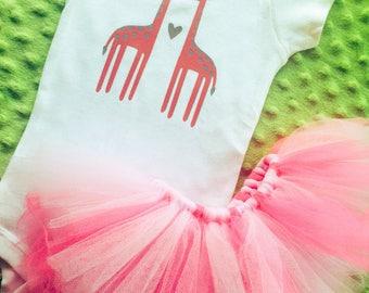 Giraffe Love - Baby Girl Onesie and Pink Tutu
