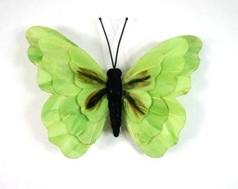 1 Big Green Butterfly Feather Butterfly Artificial Butterfly Fake Butterfly Embellishment Cake Topper Hairclip