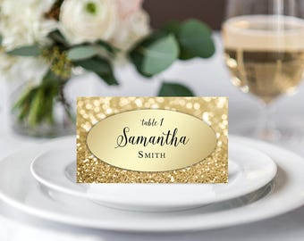 Personalized Wedding Place Cards Names Printable Wedding Place Seating Cards Gold Tented And Flat Cards Elegant Table Cards Black And Gold